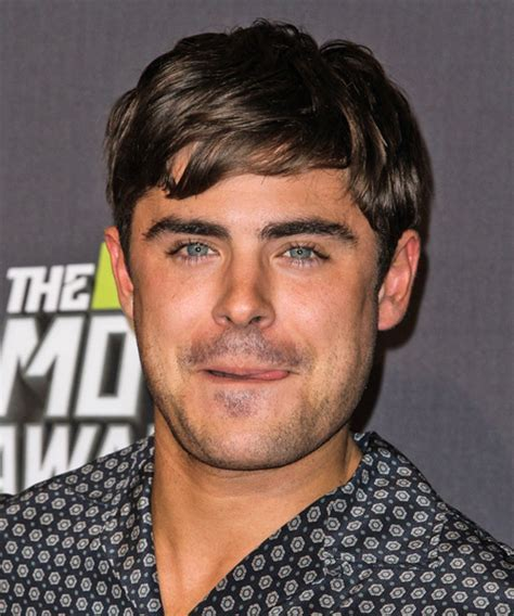 Zac Efron Short Straight Casual Hairstyle   Dark Brunette