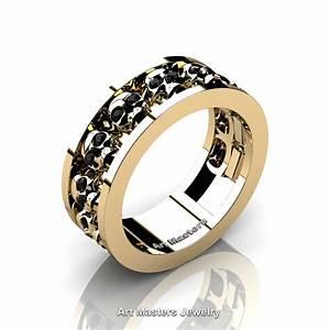 Mens modern 14k yellow gold black diamond skull channel for Mens diamond wedding rings yellow gold