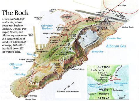 rock of gibraltar l gibralter the rock map gibralter mappery