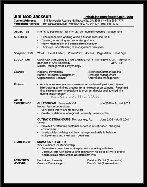 exle of resume objective for sociology major resume