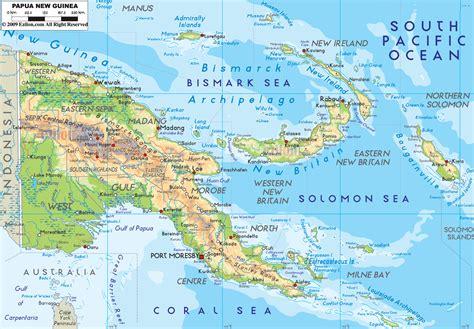 physical map  papua  guinea ezilon maps papua