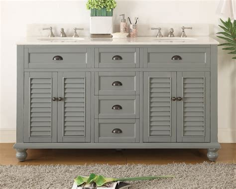 62 Inch Bathroom Vanity Cottage Beach Style Snow Gray