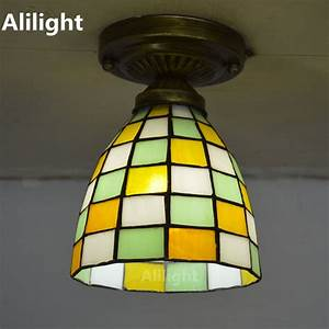 Tiffany small ceiling light mosaic stained glass flush
