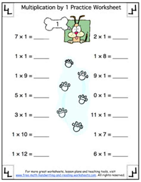 Printable Multiplication Table  Multiplying By One