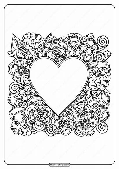 Coloring Printable Heart Flowers Pdf Adult Coloringoo
