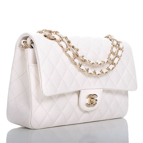 chanel white quilted lambskin large classic double flap bag gold hardware  stdibs
