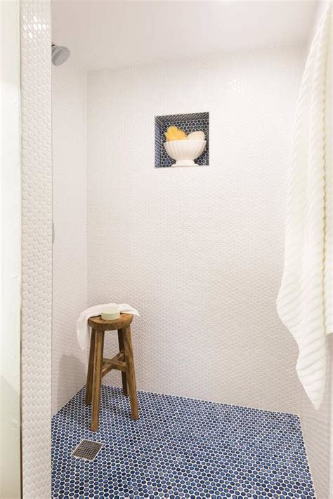 blue penny shower floor tiles transitional bathroom