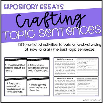 crafting topic sentences  expository essays  texas