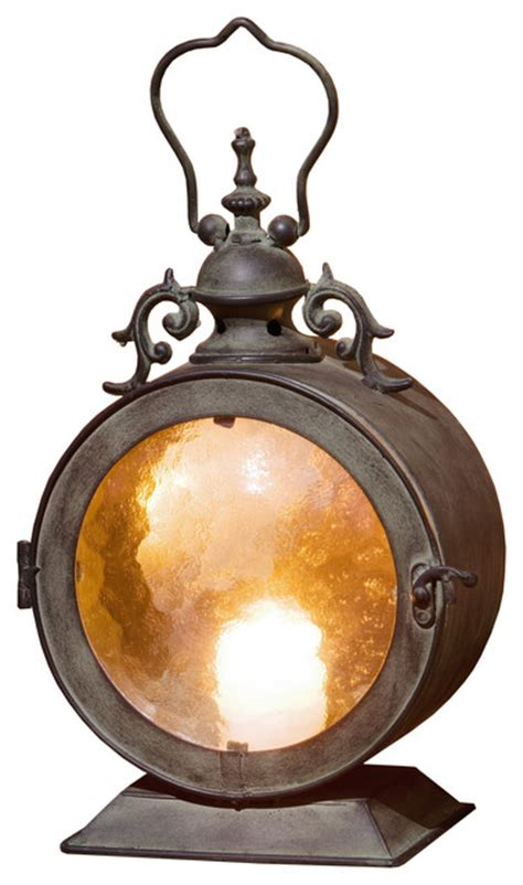 metal  hanging candle lantern curved glass insert