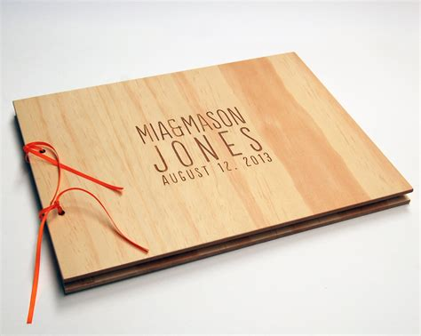 diy guest book wood wedding book engagement scrapbook