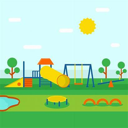 Playground Playhouse Middle Park Illustrator Vector Clipart
