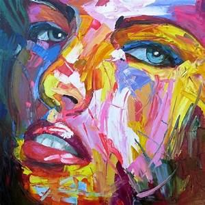 Tableau Peinture Moderne : tableau peinture visage femme moderne portrait peint au couteau ~ Teatrodelosmanantiales.com Idées de Décoration