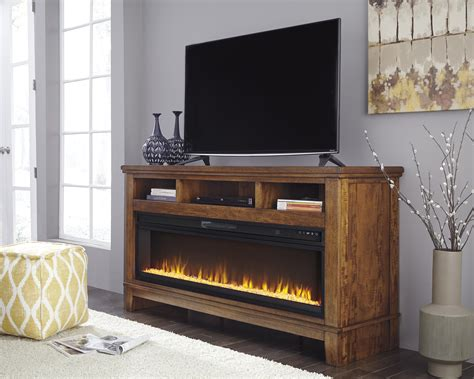 ralene medium brown xl tv stand  fireplace audio