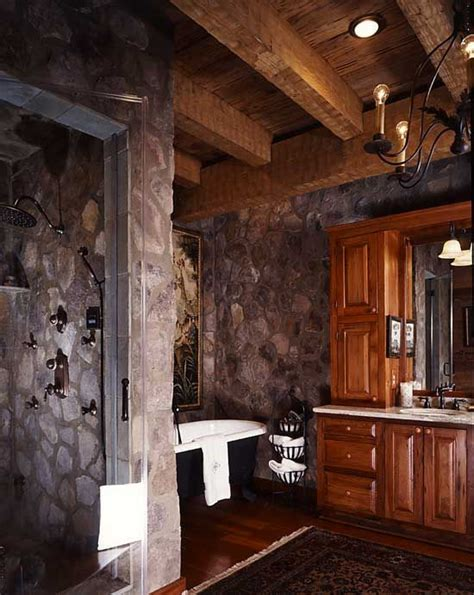 log cabin bathroom ideas cabin master bathroom designs natural stone adding to the comfort and earthiness of the