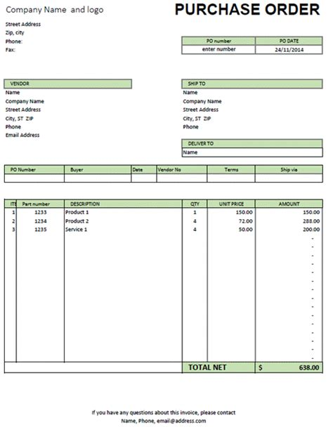 excel purchase order template purchase order invoice