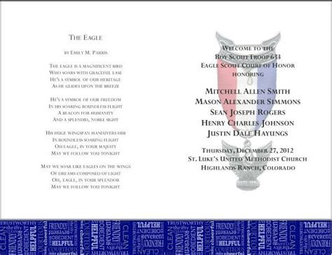 eagle scout court of honor program template 17 best images about eagle court of honor on scouts tables and bars