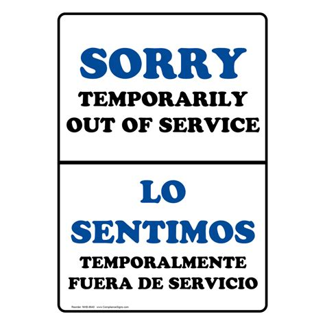 sorry temporarily out of service bilingual sign nhb 8640
