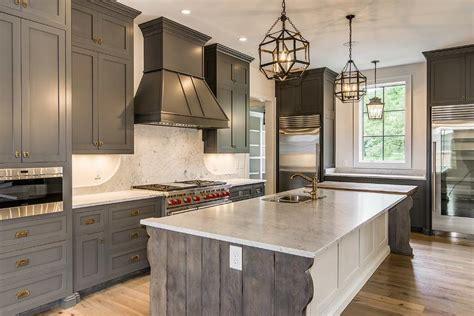 gray shaker cabinets  white kitchen island