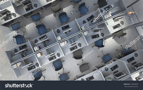 bureau en open space open space office top view stock illustration 126066830