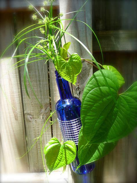 Wine Vase by Cobalt Blue Glass And Metal Wine Bottle Vase Craft Organic