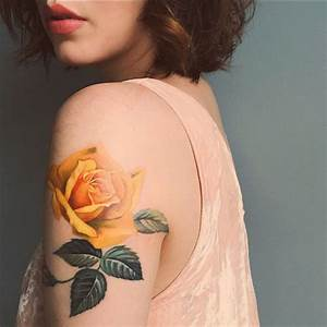 Picture Of yellow rose arm tattoo
