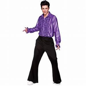 1970s Style Saturday Night Fever Mens Purple Disco Ruffle Shirt Fancy Dress Costume New