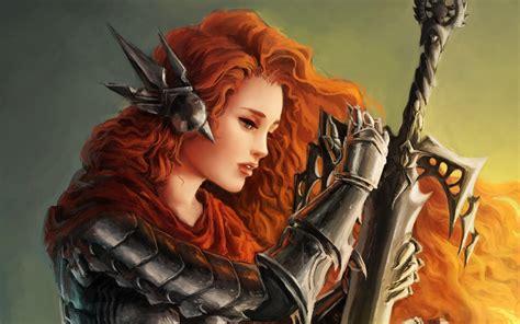 women, Redhead, Warrior, Artwork, Fantasy art, Sword ...