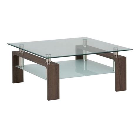 chrome and wood coffee table jofran compass glass square coffee table in chrome and