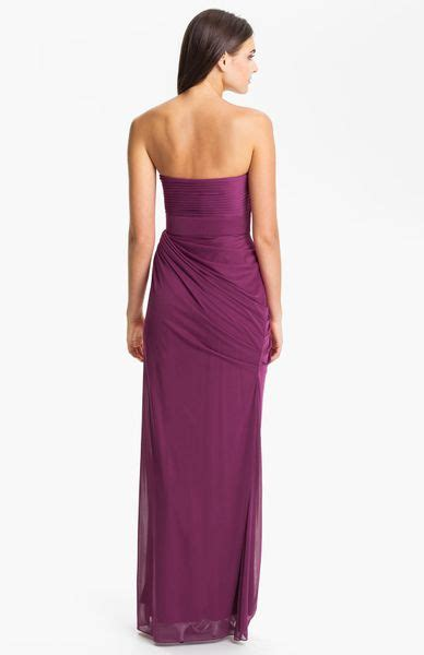 papell draped gown papell strapless draped mesh column gown in