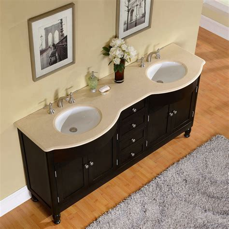 72 inch marfil marble top bathroom vanity
