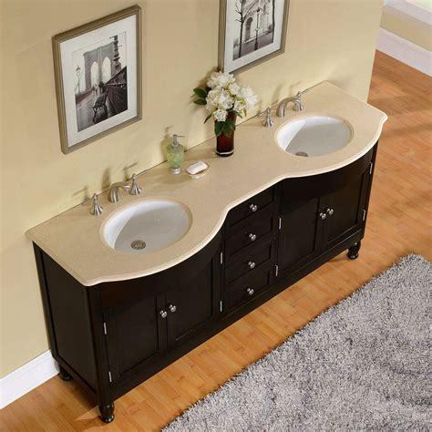 72 inch cream marfil marble stone top bathroom vanity