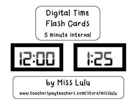 Digital Clock Flashcards 5 Minute Interval