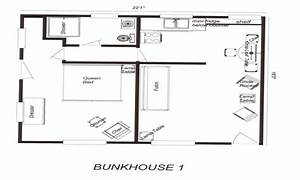 Bunkhouse floor plans rustic cowboy bunkhouse plans for Bunkhouse cabin floor plans
