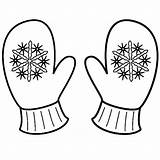 Mittens Coloring Mitten Winter Pages Snowflake Sheet Clipart Printable Sheets Drawing Christmas Gloves Template Snowman Snowflakes Pattern Colouring Preschool Kindergarten sketch template