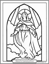 Coloring Assumption Mary Catholic Mother Blessed Virgin Stained Jesus Holy Saint Saints Window Rosary Religionsunterricht August Assomption Sheets Joseph Religious sketch template