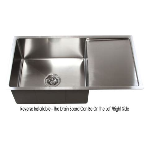 bowl kitchen sink with drainboard 36 inch stainless steel undermount single bowl kitchen 9612