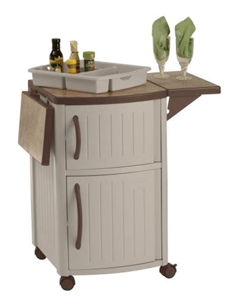 outdoor patio suncast dcp2000 prep serving table cabinet