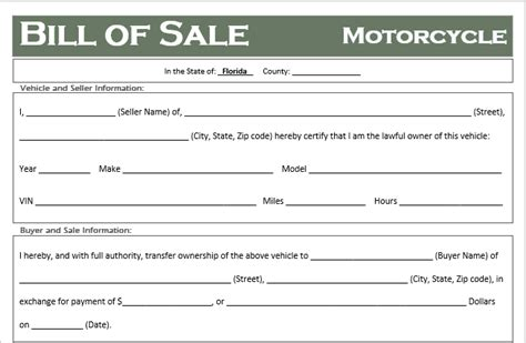 florida motorcycle bill  sale template  road