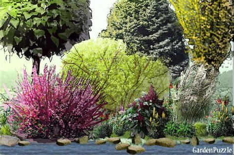 shrub garden design plans three trees a flowering shrub gardenpuzzle online garden planning tool