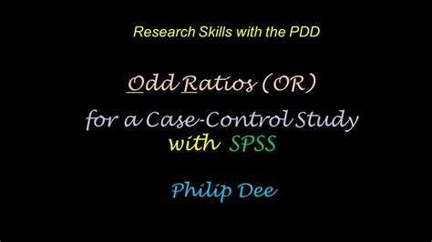 Odds ratio SPSS - YouTube