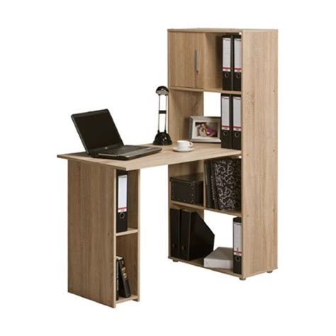 shelves above computer desk alfie sonoma oak finish computer desk with shelves 22885