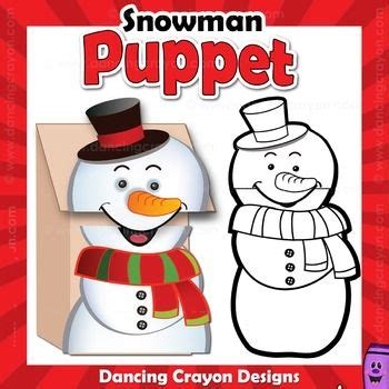 snowman craft activity printable paper bag puppet