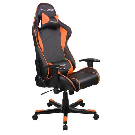 dxracer f series pc office gaming chair black orange