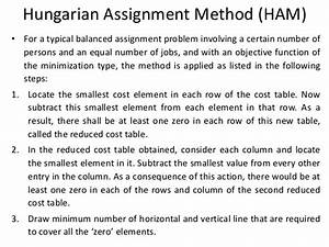 Hungarian assignment