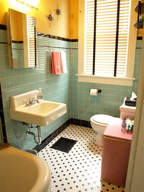 kristen and paul s 1940s style aqua and black tile