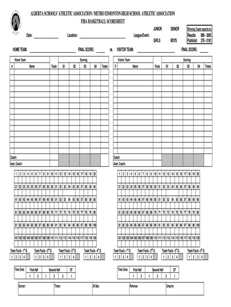 basketball stat sheets  fill  printable