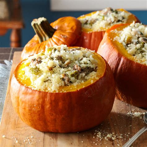 recipe for pumpkin sausage rice stuffed pumpkins recipe taste of home