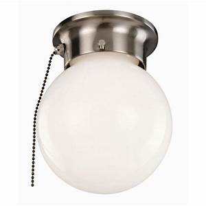 Design house light satin nickel ceiling with opal glass and pull chain the home