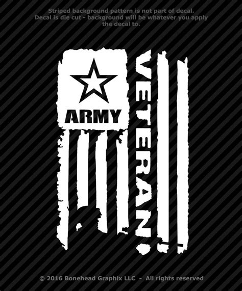 Download high quality military images in ai, svg, png, jpg and psd. Army Veteran Flag Vinyl Decal 8.5 inch Military Window ...