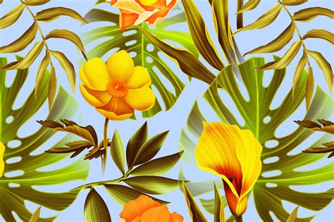 palm leaves tropical flowers patterns  creative market
